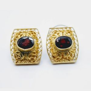 925 Gold Plated Sterling & Garnet Earrings